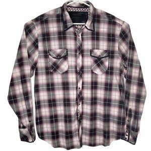 Guess Mens Western Plaid Pearl Snap Burgundy Shirt